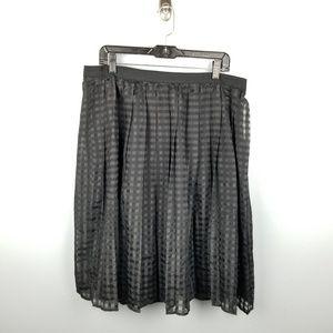 Sheer Checkered Layered Black Midi Skirt